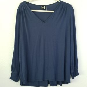 H BY BORDEAUX  LONG SLEEVE PULLOVER BLOUSE